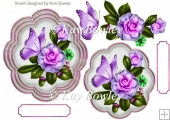 lilac flowers with green butterflies card front/topper