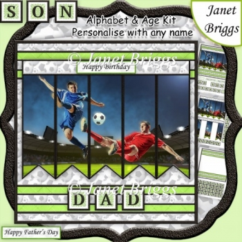 FOOTBALL 7.5 Alphabet and Age Quick Card Kit Create Any Name