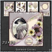 Vintage Shabby Flower Card Kit Purple 1445