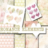 ROMANCE ELEMENTS - Pink and Green - high quality printable pack