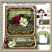 Red And White Roses Luxury Easel Card Kit