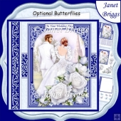 WEDDING DAY BRIDE & GROOM Navy 7.5 Decoupage & Insert Mini Kit