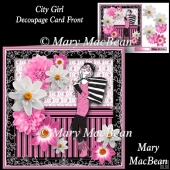 City Girl Decoupage Card Front