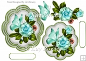 turq flowers with green butterflies card front/topper