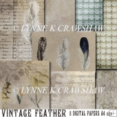 VINTAGE FEATHER - pack of 8 digital papers A4 size