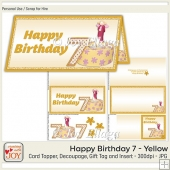 DL size Yellow 7th Birthday Angel
