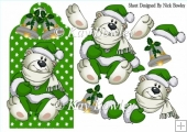 Cute polar bear on green snowflake tag