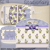 Stationary Bag Folder Purple Rose