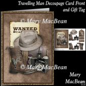 Travelling Man Decoupage Card Front and Gift Tag