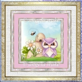 Spring hoots 7x7 card with decoupage and sentiment tags