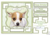 Chihuahua Dog & Bone (2) - 7.5 x 7.5 Card Topper With Greetings