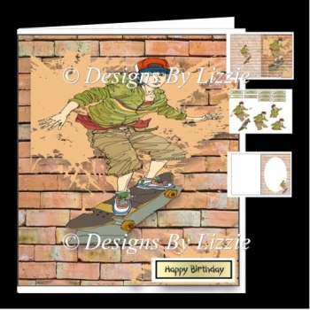 Skateboarding Teenagers Birthday Card