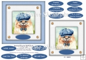 Spectacle Dogs In Blue Hats (4) - 6 x 6 Card Topper & Greetings