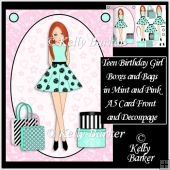 Teen Girl Red Head Boxes & Bags in Mint & Pink A5 Decoupage