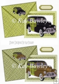 1948 Vintage woody car on green card & envelope card front