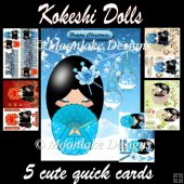 5 Kokeshi Doll Art Quick Cards