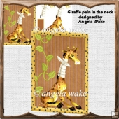 Giraffe pain in the neck card with decoupage