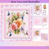 Rose Lace and Butterflies