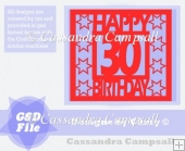 Happy 30 Birthday Star Frame in svg and gsd