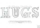 Hugs - A5 Alpha Bears Digi Stamp