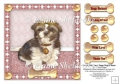 "Steam Punk Roxy Puppy Dog 8"" x 8"" Card Topper With Bone Tags"