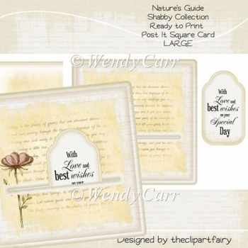 Nature's Guide Shabby Collection Post It Card(Retiring in August