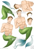 Merman Dude Decoupage Sheet