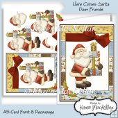 Here Comes Santa Claus Deer Friends A5 Card Front