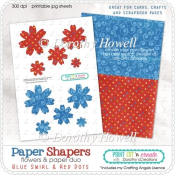 Paper Shapers Flowers - Blue & Red