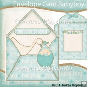Peek a Boo Envelope Card Baby Boy