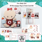 Welcome Little One New Baby Girl 3D Decoupage Twist & Pop Card