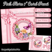 Pink Flora 7 Inch Card Front