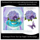 Hydrangea Flower Tea Cup Topper & Decoupage