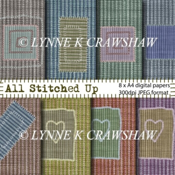 All Stitched Up - 8 x A4 size digital papers CUOK!