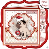 BAH HUMPUG Christmas Pug 7.5 Decoupage & Insert Kit