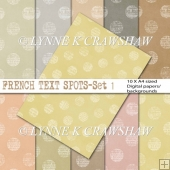 FRENCH TEXT SPOTS - Set 1 - 10 x A4 size digital papers