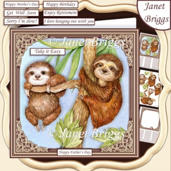 SLOTHS JUST CHILLIN' 7.5 Decoupage & Insert Kit All Occasions