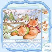 WINTER FOXES 7.8 Christmas Decoupage & Insert Kit