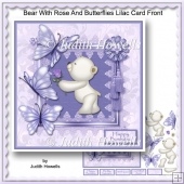 Bear With Rose And Butterflies Lilac Card Front