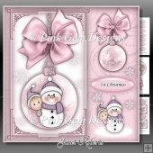 Baby Girl Snowman Bauble Square Mini Kit