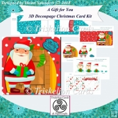 A Gift for You 3D Decoupage Rounded Corner Christmas Card Kit