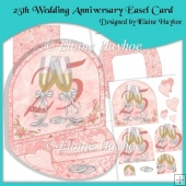 25th Wedding Anniversary Easel Card with Pyramage