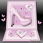 Pink Gingham Shoes Easel Card