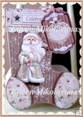 Cottage Chic Santa Stocking Shaped Gift/Favor Box with Direction