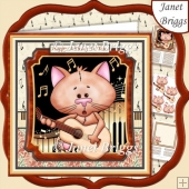 CAT PLAYING GUITAR 7.5 Decoupage & Insert Kit