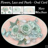 Flowers, Lace and Pearls - Oval Card