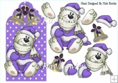 Cute polar bear on purple snowflake tag