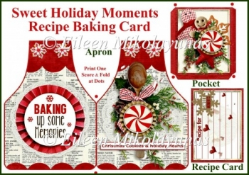 Sweet Holiday Moments Apron Recipe Baking Card Set