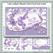 Lilac Letters Waved Card Front And Insert