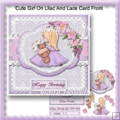 Cute Girl On Lilac And Lace Card Front